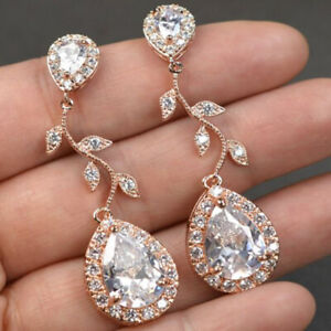 Pretty Rose Gold Filled Drop Earrings for Women White Sapphire Jewelry A Pair