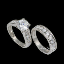 2.75 ct Round Brilliant Cut 925 CZ Engagement Wedding Ring Set size 5,6,7,8,9