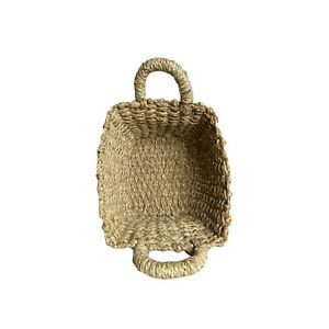 Seagrass Or Straw woven tan and brown flexible basket With Handles