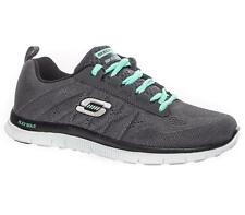 WOMENS SKECHERS FLEX APPEAL SWEET SPOT MEMORY FOAM TRAINERS - UK 3 - CHARCOAL.
