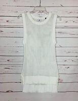 Cabi Women's Sz XS Extra Small White Crochet Sleeveless Cute Spring Sweater Top