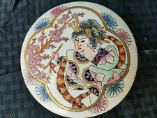 Japanese round trinket holder there is a large R in the design maybe signature.