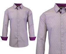 Mens Long Sleeve Dress Shirt Button Down Casual Printed Fancy Contrast Trim Cuff