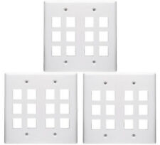 3 Pack White 12 Port/Hole Keystone Jack Modular Wall Plate Faceplate 2-Gang New
