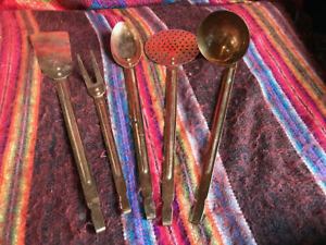Copper Utensils-Hanging-Vintage 5 Pc-As Is-Spatula Ladle Spoon Fork Slotted
