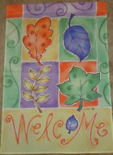"""Autumn Leaves Welcome Decorative Art Flag 28"""" x 40"""" New"""