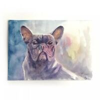 Original painting French Bulldog Dog art Watercolor Listed By artist USA Artwork