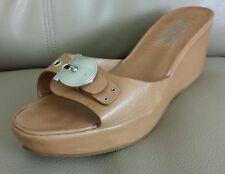 Salvatore Ferragamo Women's Wedge Nice Sandal Silver Metal Logo Brown  Size 8-B