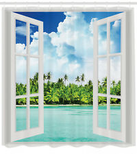 Ocean Decor Palm Tree Tropical Island Beach Paradise Scene Fabric Shower Curtain