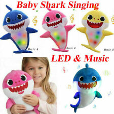 Baby Plush Shark Toys Soft Singing Light Dolls Music Kid Birthday Gift New UK