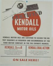 """RARE KENDALL OIL SIGN KENDALL 1961 LARGE 22""""X 17"""" USE IN '61 FORD SIGN"""