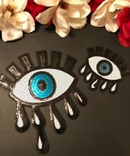 2pc/set Eyeball Eye Sequin Embroidered Fashion White Iron On Patch DIY Large