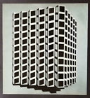 """Victor Vasarely """"Ter-A"""" Mounted b/w Offset Lithograph 1971"""