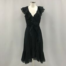 New Coast Dress UK 8 Women Black Ruffles Silk Cotton  Special Occasion 280600
