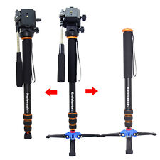 Pro Camera Aluminium Monopod With Fluid Video Head + Three Feet Support Stand
