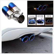 DIY 63mm Stainless Steel Blue Car Rear Tail Exhaust Dual Muffler Pipe Tip Throat