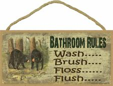Black Bears Bathroom Rules 5 x 10 Wood SIGN Plaque