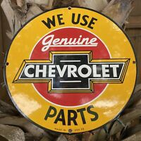 VINTAGE 1959 CHEVROLET PORCELAIN SIGN OIL GAS STATION AUTO TRUCK PARTS SERVICE
