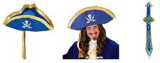 Blue Pirate Hat and Inflatable Sword Blue Outfit Accessory Caribbean Fancy Dress