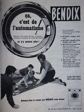 PUBLICITÉ PRESSE 1955 LAVE LINGE BENDIX ÇA C'EST DE L'AUTOMATISME - ADVERTISING