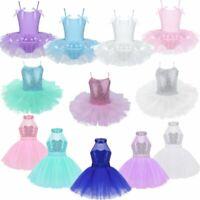 Kids Girls Ballet Dance Leotard Tutu Dress Gymnastics Skirt Dancewear Costumes