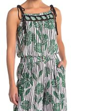 Angie Womens Top White Green Size Medium M Tank Patterned Tie Strap $38 587