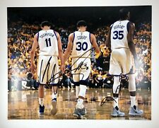 Steph Curry Kevin Durant Klay Thompson Warriors Signed Autographed 11x14 Photo