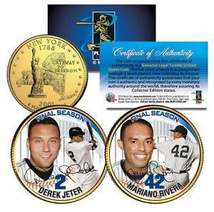 DEREK JETER & MARIANO RIVERA Final Season NY Quarters 2-Coin Set 24K Gold Plated