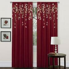 "NEW Lush Decor Flower Drop Window Curtain Panel, Red, 42"" x 84"""