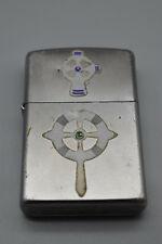 Vintage Zippo Cigarette Lighter, Has Nautical Steering Wheel Stickers on 1 side
