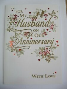 STUNNING COLOURFUL GLITTER COATED FOR MY HUSBAND ANNIVERSARY GREETING CARD