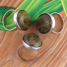 1x Charm Silver Plated Unakite Stone Oval From Adjustable Finger Ring Jewelry