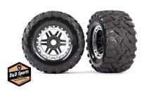 Traxxas 8972X Tire & Wheel Assembled Glued (Black, Satin Beadlock Wheels) Maxx