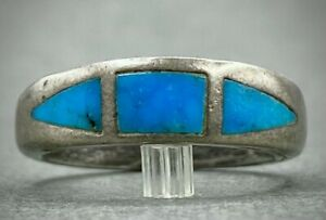 OLD THICK Vintage Navajo Sterling Silver Turquoise Inlay Stacking Ring