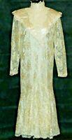 VINTAGE 70S/80S JESSICA MCCLINTOCK SIZE 11 CREAM COLORED LACY PRAIRIE DRESS WOW!