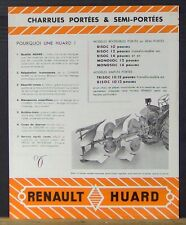 BROCHURE PROSPECTUS PUBLICITE  HUARD CHARRUE  POUR TRACTEUR RENAULT