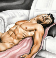 Print Of Male Oil Painting -Taking A Rest - Man Pin Up Art Figure Artist Andreev