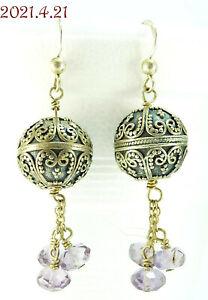 Estate Amethyst Etruscan Style Sterling Silver 925 Dangle Pierced Earrings