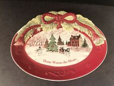 Fitz and Floyd Home Warms the Heart Winter Scene Ceramic Sentiment Tray 2010