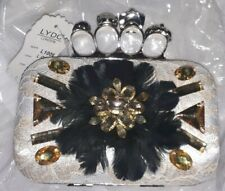 ☆ Brand New LYDC Lace Sparkle Feathered Jewelled Clutch Bag Purse Gold Silver ☆