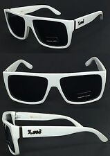 Locs Mens Cholo Bike Flat Top Square Black Shaded Lens Sunglasses - White LC81