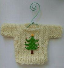 Cream colored  Islandic Wool MINI   Christmas Sweater   Ornament Style E
