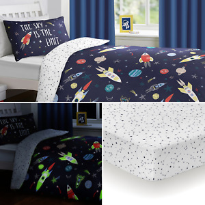 Bedlam Multi Space Glow in the Dark Kids Duvet Quilt Cover Bedding Range