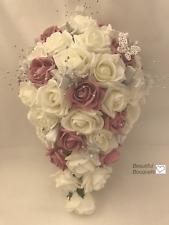 Wedding Bouquet dusky pink Rose flowers Bride  Bridesmaid buttonholes posy wand