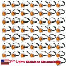 """50X 12V Amber 3/4"""" Round Side 3 LED Marker Bullet Chrome Stainless Lamps US Ship"""