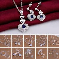 New Ladies Women Bracelet Earrings Jewelry Set Necklace 925 Silver Heart Fashion