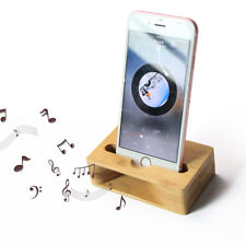 2 in 1 Bamboo Amplifier Speaker Dock Stylist Home Office For Mobile Eco-Friendly