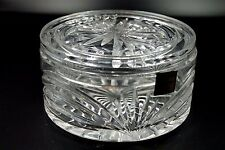 MARQUISE CRYSTAL GLASS LARGE ROUND DRESSER BOX BY WATERFORD SIGNED