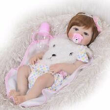 "Blue Eyes 23"" Full Body Silicone Vinyl Newborn Reborn Baby Dolls Girl Toys Gift"