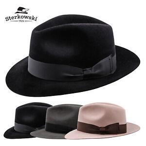 Sterkowski MOSCA Rabbit Felt Fedora Hat Wide Brim Trilby Elegant Winter Men's